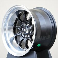 MST MT-11 15x8 15x9 0 OFFSET STAGGERED 4x100/114.3 10 SPOKES BLACK SILVER WHEELS
