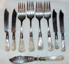 Antique Mother of Pearl Handle & Sterling Fish Knives & Forks 10 Pieces