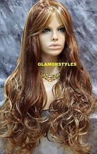 Long Wavy Layered Auburn Blonde Mix Full Synthetic Wig Hair Piece #RS29 NWT
