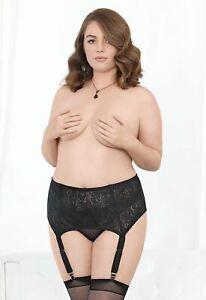 Escante Plus Size Boned Hi Waist Garter Belt Sexy Lingerie
