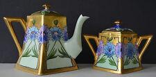 Limoges Whites Art Co Floral Heavy Gold Tea Pot Sugar Bowl