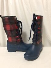 Sporto Original Women's Winter Lined Snow Rain Boots Plaid Navy/Red Size 7M...WB