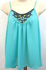 Charlotte Russe Women's Crop Top Size XL Teal Spaghetti Straps Beaded Trapeze