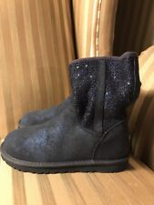 New Uggs Womens Sz 6 Boots Short Sparkle Blue