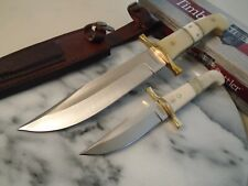 Timber Rattler Camel Bone Duo 2 Pc Hunter Knife Bowie Set TR114 Full Tang New