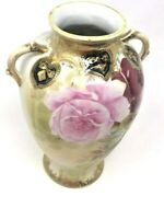 "Antique Nippon 9"" Hand Painted Gold Vase W/ Handles Roses Black & Gold Hearts"