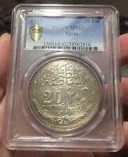 EGYPT BRITISH UK COIN 20 PIASTRES 1917 PCGS MS 62 UNC