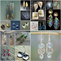Vintage 925 Silver Sapphire Emerald Opal Ear Stud Dangle Drop Earrings Wedding