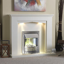 """ELECTRIC CREAM SILVER FIRE PEBBLE SURROUND FIREPLACE SUITE BIG LARGE LIGHTS 54"""""""