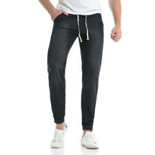 Casual Drawstring Water Wash Skinny Ninth Jeans - Black