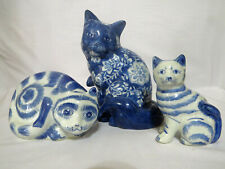 Three Blue and White Cats Kitties Kittens Figurines 2 Striped, 1 Floral