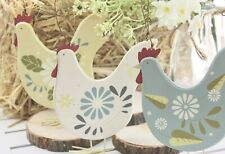 GISELA GRAHAM EASTER COUNTRY DAISY PAINTED WOOD HEN DECORATION LARGE