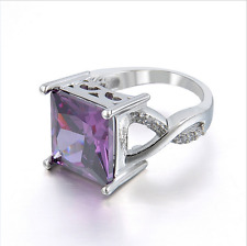 Women Especial Tourmaline White Topaz  Silver Purple Gemstone Ring New  BP57