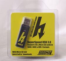 Hoodman Husb3 Compact Usb 3.0 Sd MicroSd Card Reader SuperSpeed 5 Gb/s Bandwidth