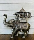 Vintage India Sterling Silver Walking Royal Elephant with Maharaja Figurine