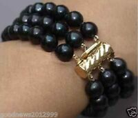 "14k Gold 3 Rows 7.5-8"" AAA Round 8-9 MM Tahitian Black Pearl Bracelet"