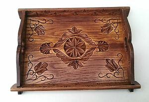 """Wooden carved tray , display tray , home decoration 16"""" wide , handcarved tray"""