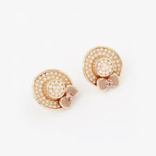 GORGEOUS 18K GOLD PLATED, PINK ENAMEL AND WHITE PEARL HAT STUD EARRINGS