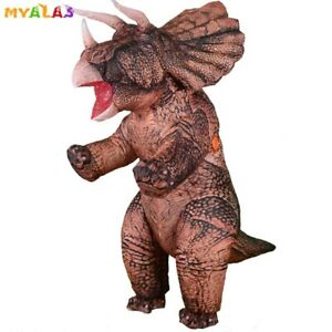 Dinosaur Triceratops Inflatable Costume T-Rex Halloween Blow Up Suit Adult Men