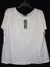 NWT Ralph Lauren 3X White Linen and Cotton A-Line Tee Top Unique NEW Cat Rescue