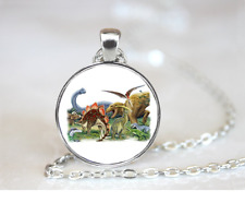 Dinosaurs PENDANT NECKLACE Chain Glass Tibet Silver Jewellery