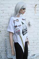 Panther Punk Rock Slashed Baggy XL Psytrance Pixie Fairy Kawaii Black Crop Top