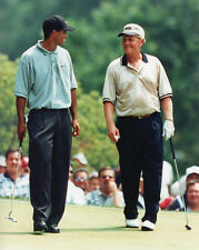 TIGER WOODS & JACK NICKLAUS Glossy 8x10 Photo Pro Golfer Print Poster