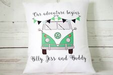 "Personalised green VW Campervan - 16"" cushion cover shabby vintage chic"