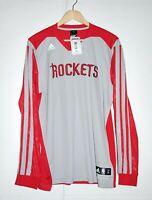 Adidas NBA Houston Rockets Warm Up Long Sleeve Shooter Practice Tee Msrp $80