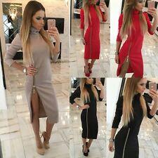 Womens Winter Long Sleeve Slim Sweater Jumper Knit Pullover Bodycon Mini Dress