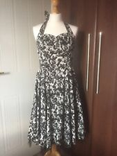 HEARTS & ROSES HALTER NECK GOTH/50's STYLE DRESS SIZE 12