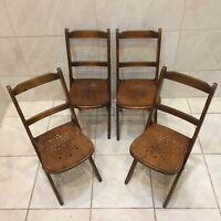4 Vintage Venesta Wooden Folding Childs Chairs Seat, Infant Antique - X 4