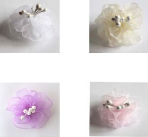 5 Sheer Chiffon Organza Flowers with Stamens - Size 30mm - lots of colours