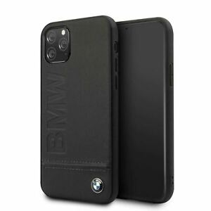 BMW® Real Leather with Signature Logo Imprint Case for iPhone 11 Pro Black