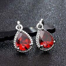 Women's 925 Sliver Plated Water Drop Cubic Zircon Huggie Dangle Earrings Gift