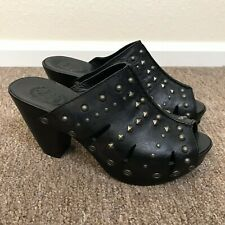 Ariat women's leather Studded Clogs Black open toe Shoes heels 9B