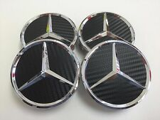 4 PCS 75mm / 3 INCH CARBON BLACK WHEEL BADGE CENTER HUB CAPS FOR MERCEDES BENZ