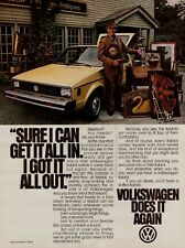 "1980 VW Volkswagen Rabbit Yellow Car ""Sure I Can Get It All In"" Photo Print Ad"