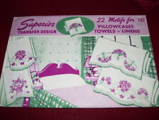 1940's SUPERIOR #137 - BEAUTIFUL FLORAL LINENS EMBROIDERY TRANSFER PATTERN  FF