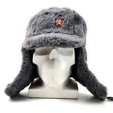 Genuine Czech army winter cap Ushanka grey fur extremely warm hat