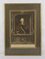 Rare Antique 18th C Prince Charles Edward Stuart Portrait Engraving Print Tocque