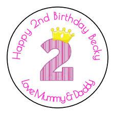 Girls 2nd Birthday Personalised Thank You Sticker Party Sweet Cone Age, Pink