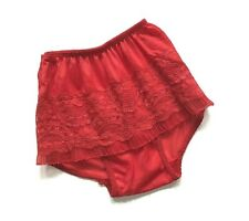 Vtg 50s Little Girl's Red Ruffles Ruffled Lace Nylon Lace Panties Briefs Sz 6