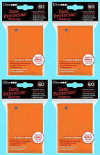 240 Ultra Pro DECK PROTECTOR Card Sleeves ORANGE YuGiOh 4 Packs Small Size NEW