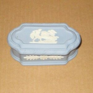 Wedgwood Jasperware Blue Oblong Ulysses Pomona Box