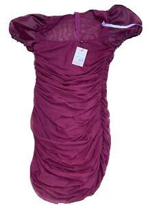 Misguided Mesh Puff Sleeve Milkmaid Dress Size 10 Plum