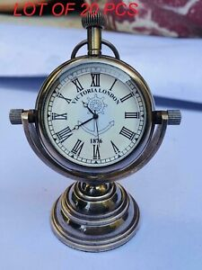 Vintage victoria london 1876 nautical brass table top decor standing clock gift