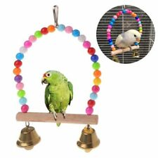 Parrot Swing Bird Toy Perch Stand Bell Cage Polly Rope Hanging Large Wooden New