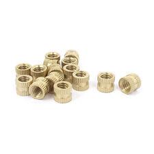 """15 Pcs 1/4""""-20x8mm(L)x9mm(OD) Metric Threaded Brass Knurl Round Insert Nuts"""
