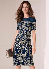 Kaleidoscope Embroidered Bardot Detail Dress Navy Size UK20 rrp £119 DH087 PP 12